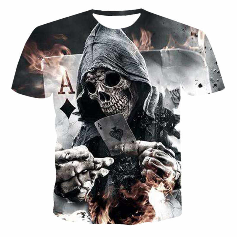 2020 Summer New Men's T-shirt 3D Skull & Poker Fashion Short-sleeved Tops Street Round Neck T-shirt Unisex Casual T-shirt