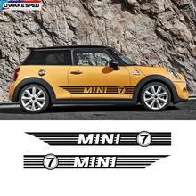 Двери автомобиля стикер на автомобильную юбку гонки в полоску без 7 Cusotmized наклейки своими руками, двухсторонняя наклейка для Mini Coopers F54 F55 F56 R56 R57 R58