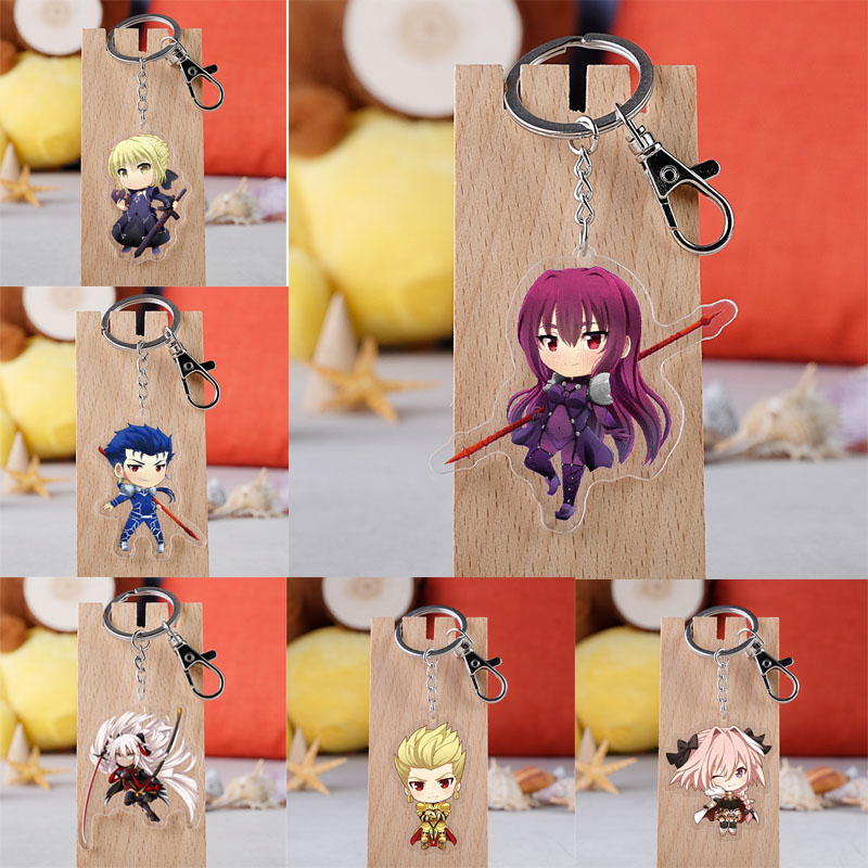 Game Fate Keychain Cartoon Figure Saber Astolfo Pendants Acrylic Pendent Key Ring