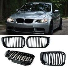 2 шт. автомобиль Стиль черный глянец передней почек двойная планка решетка для BMW E46 4 двери 4D 3 серии 2002-2005