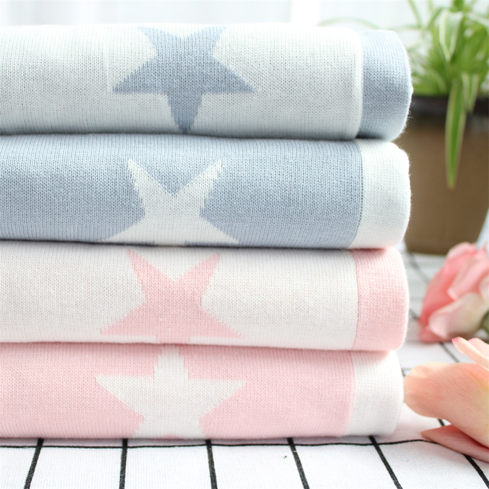 Classic Reversible Super Soft Cotton Knitted Blue Star Newborn Receiving Blanket Pink Knitted Baby Blanket Baby Stroller Cover