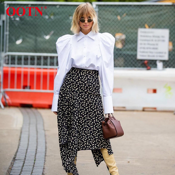 OOTN Elegant White Puff Sleeve Blouse Women Shirts Office Lady Ladies Work Wear Turn Down Collar Womens Tops And Blouses Female 1