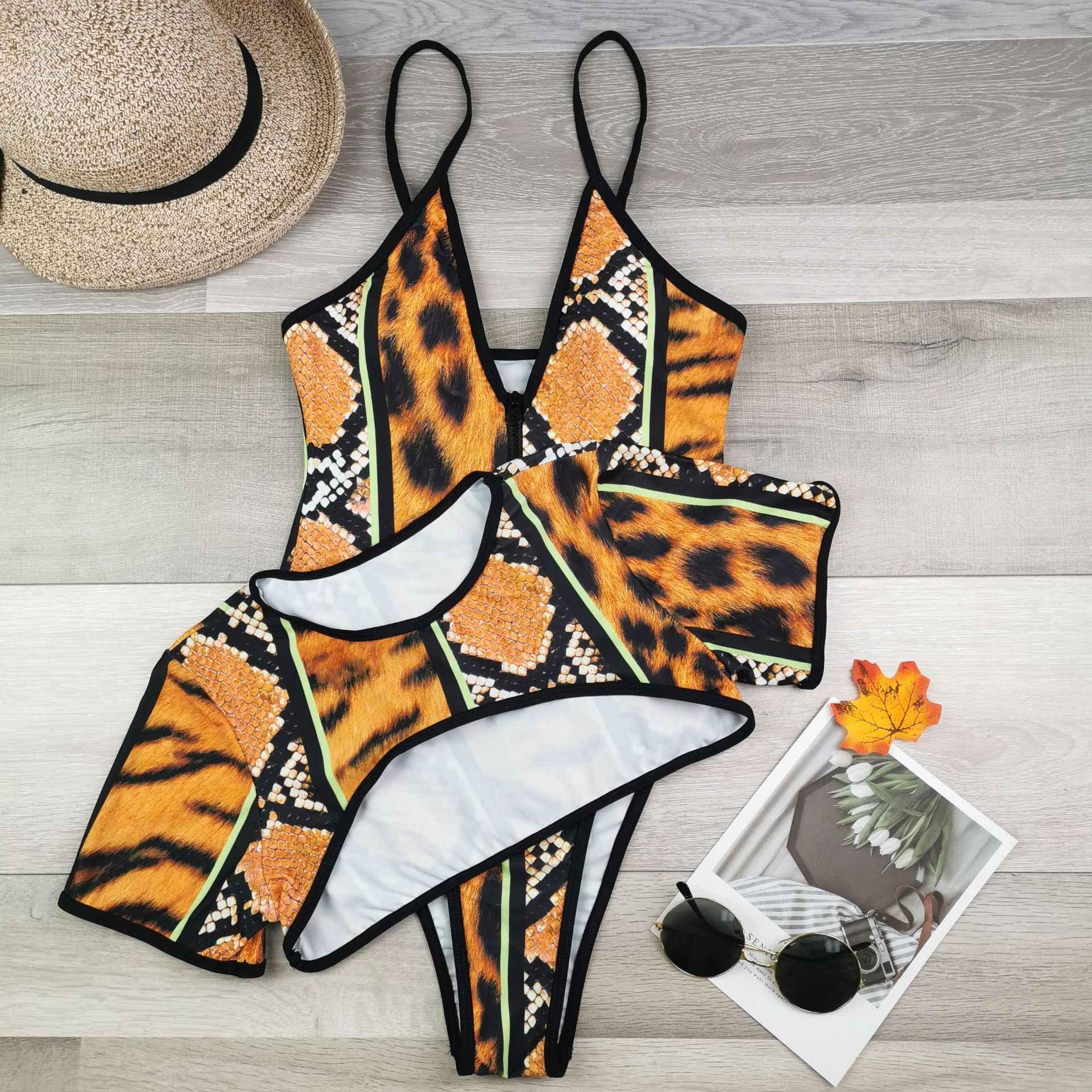 Ukuran Satu Potong Pakaian 2020 Hewan Gambar Push-Up Padded Brasil Swimsuit Set Pantai Monokini Mandi Baju Renang Bikini 5XL