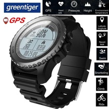 Greentiger reloj inteligente S968 para hombre, deportivo, resistente al agua, con GPS, control del ritmo cardíaco, podómetro, natación, reloj inteligente para exterior
