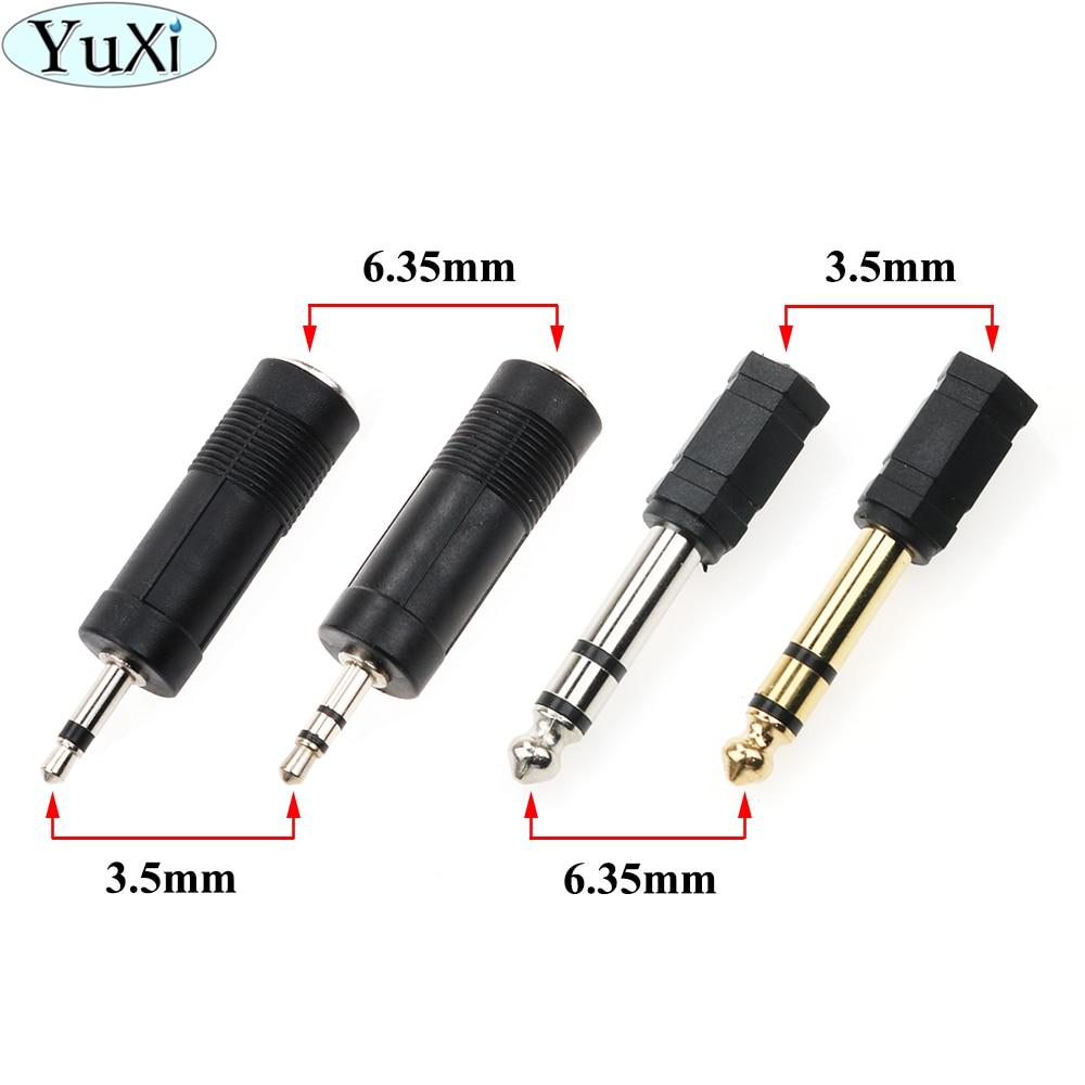 YuXi 1pcs Jack 6.35 Mono 3.5mm Audio Connector Adapter 6.35MM Mono Plug To 3.5 STEREO/ Dual MONO JACK Guitar Connector