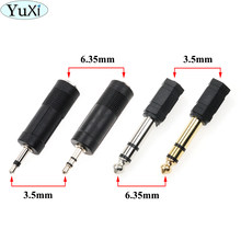 YuXi 1pcs Jack 6.35 mono 3.5mm Audio Connector Adapter 6.35MM Mono Plug to 3.5 STEREO/ Dual MONO JACK Guitar Connector(China)