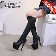 Сапоги высотой 17 см сапоги до колена на высоком каблуке 8 дюймов
