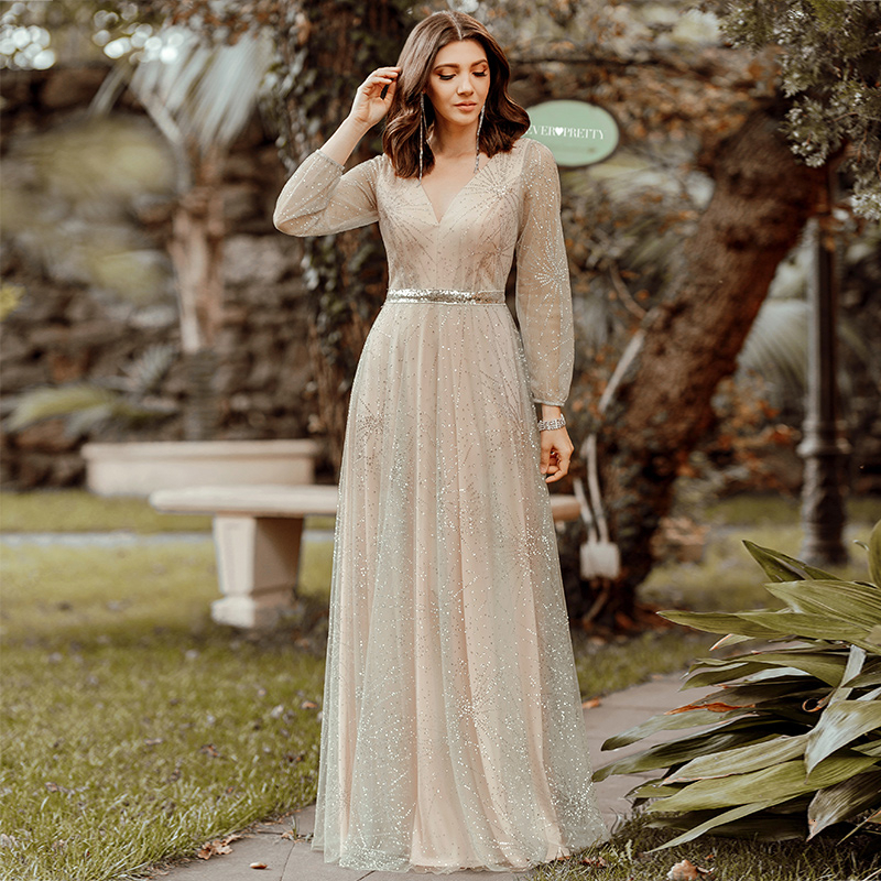 Sparkle Tulle Prom Dresses Ever Pretty A-Line V-Neck Full Sleeve Elegant Grey Evening Party Gowns Vestidos Largos De Fiesta 2020