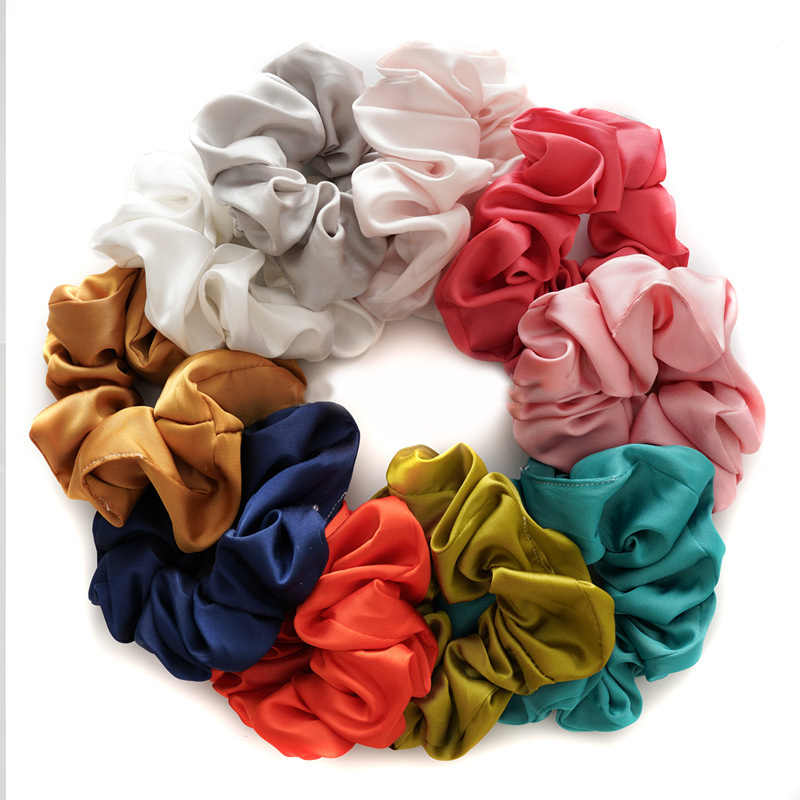 New Fashion Set Women Silk Solid Scrunchie Pack Elastic Satin Hairbands Girls Hair Ties Hair Ropes Hair Accessories