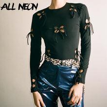 Allneon y2k эстетичные бандажные футболки с бабочкой длинным