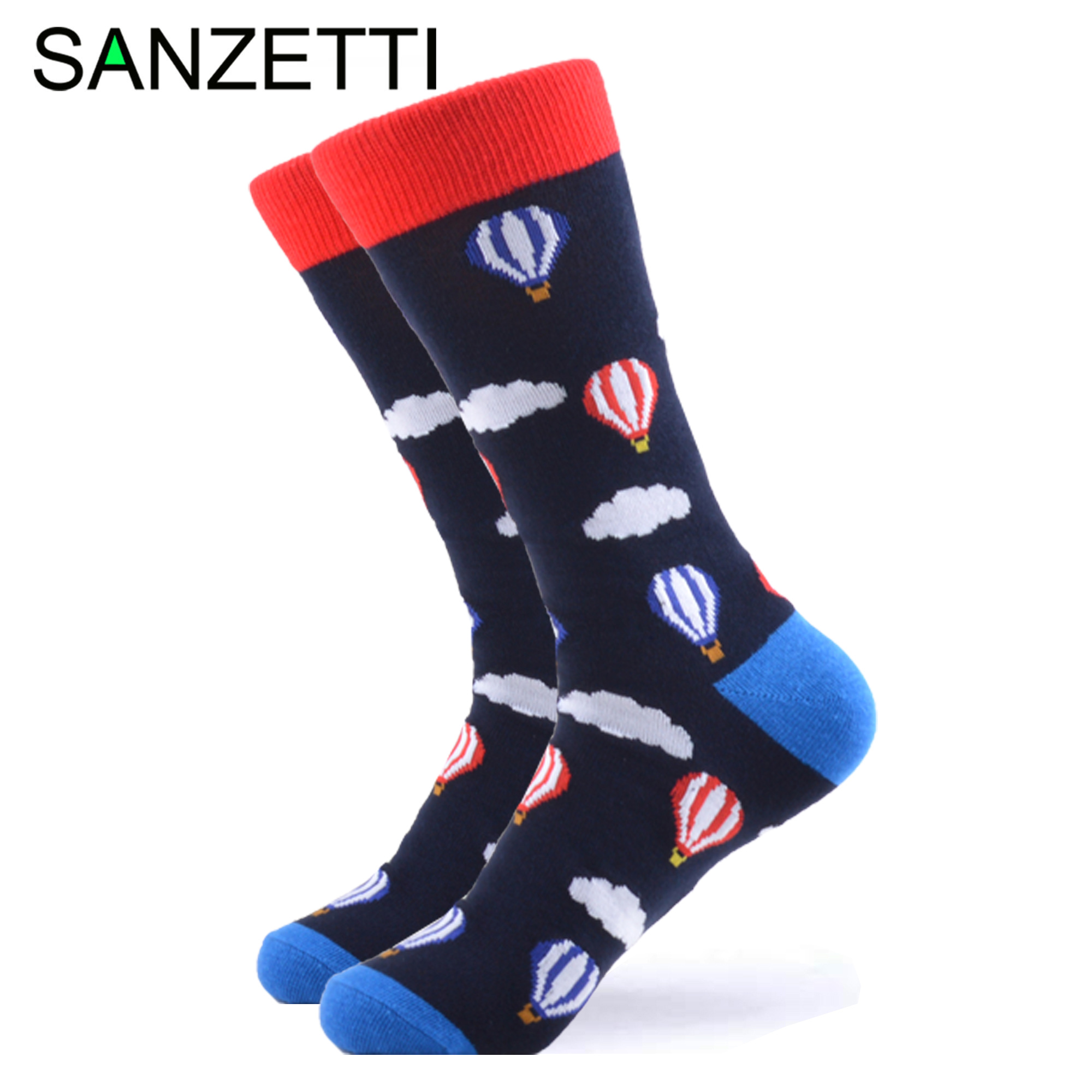 SANZETTI 1Pair New Style Happy Socks High Quality Men's Colorful Animals Combed Cotton Pattern Novelty Gift Wedding Dress Socks