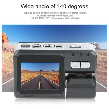 Dual Lens Car DVR Camera I1000 Full 1080P 2.0TFT Dash Cam IR LED Light Night H.264 Rotatable Lens Video Recorder image