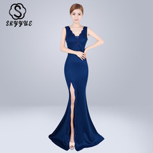Skyyue Evening Dress Sexy Double V-neck Robe De Soiree Women Party Dresses 2019 Sleeveless Backless Fromal Gowns C208