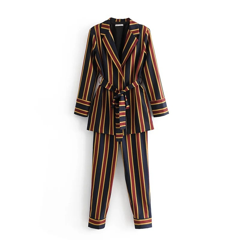 Western Style 2019 Spring New Style WOMEN'S Dress Versatile Slimming Stripes Suit Jacket + Casual Trousers Set
