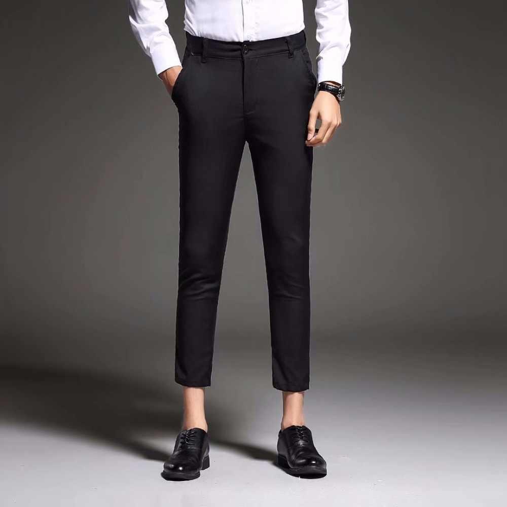 Pantalones De Vestir Ajustados Para Hombre Traje De Negocios Pantalones Hasta El Tobillo Traje Formal De Verano Negro Blanco Y Azul Novedad De 2020 Pantalones De Traje Aliexpress