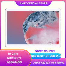 Original ANRY X20 10.1 Inch Tablets 10 Core MTK6797T 8000mAh 4GB RAM 64GB ROM 1920x1200 FHD Display 13MP Dual Cameral Tablet 10