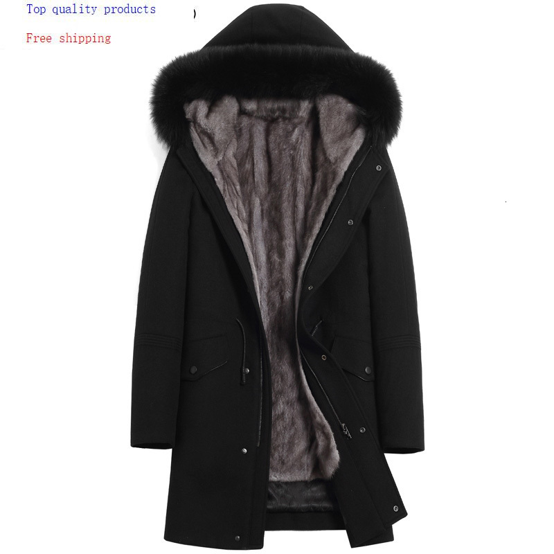 Mens Mink Coat Winter Jacket Men Long Parka Real Fur Coat Natural Mink Fur Liner Warm Parkas Fox Fur Collar -9817060-
