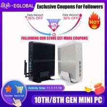 Процессор Eglobal Fanless мини компьютер Intel i7 10510U i7 8565U i5 8265U 2 * DDR4 Msata + M.2 PCIE, мини ПК Windows 10 HTPC Nuc VGA DP HDMI