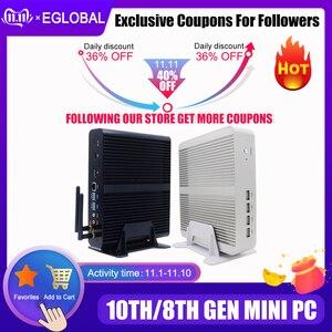 Image 1 - Eglobal Fanless Mini Computer Intel i7 10510U i7 8565U i5 8265U 2*DDR4 Msata+M.2 PCIE Mini PC Windows 10 HTPC Nuc VGA DP HDMI