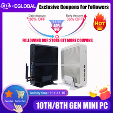 Eglobal بدون مروحة كمبيوتر مصغر إنتل i7 10510U i7 8565U i5 8265U 2 * DDR4 Msata + M.2 PCIE كمبيوتر مصغر ويندوز 10 HTPC Nuc VGA DP HDMI