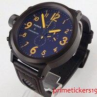 PARNIS PVD coated case chronograph date 50mm round case wristwatch orange marks quartz movemet mens watch