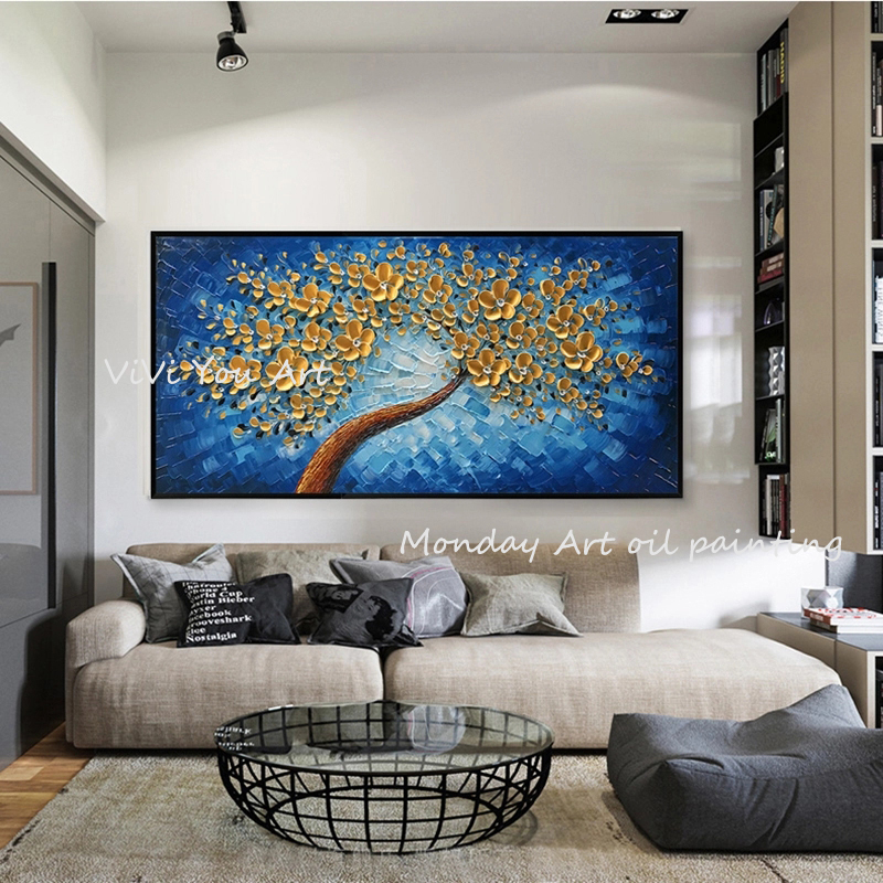 Pintado à Mão Pintura a Óleo da Lona Retrato da Arte da Parede para Sala de Estar Decoração de Casa Decoração Home Moderna Ouro Flor Pintura 100% 3d