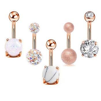 Lote de 5 unidades de GEMA de circonita transparente, Piercing para el ombligo, para el ombligo, de acero inoxidable, cristal, Anillo para el ombligo, joyería para mujer