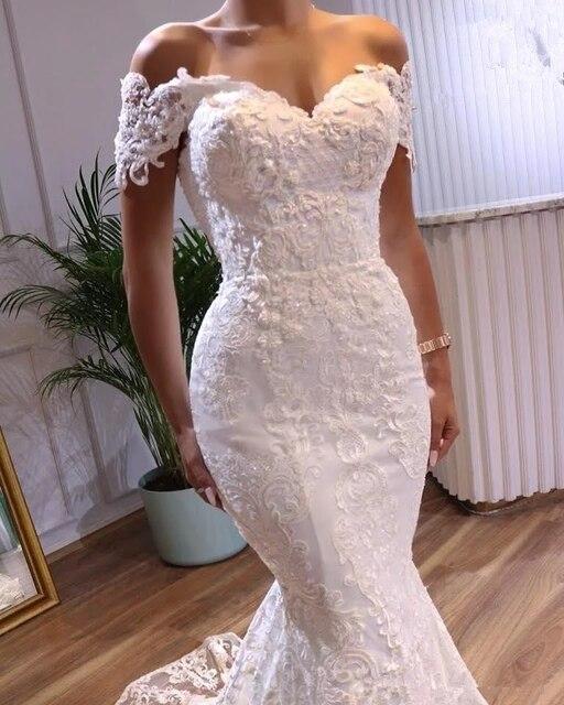 Angelsbridep Off-Shoulder Mermaid Wedding Dresses Vestidos De Novia Sweetheart Appliques Tulle Formal Bridal Gowns Suknia Slubna 2