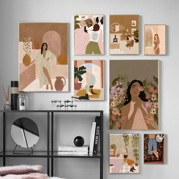 Fashion Girl Read Flower Abstract Minimalist Wall Art Canvas Painting Nordic Posters And Prints Decor Pictures For Living Room abstract girl figure leaves flower boho wall art canvas painting nordic posters and prints wall pictures for living room decor