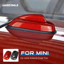 Ambermiglia fibra di carbonio per Mini Cooper F55 F56 accessori tetto auto pinna di squalo Antenna decorativa copertura Base copertura adesivo Trim