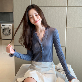 Ailegogo New Spring Women Cardigans Casual Female Lace V-neck Single Breasted Knitted Sweater Korean Style Slim Knitwear Tops 3