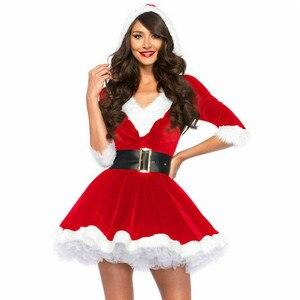 Mulheres papai noel natal fantasia vestido de natal adultos traje roupa cosplay com cinto para a senhora novo verde vermelho