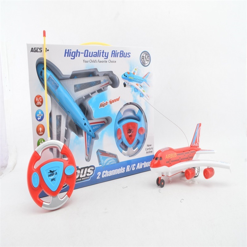Children Remote Control Air Bus Model Steering Wheel SMV Remote Control Aircraft Lights Music Electric Toys