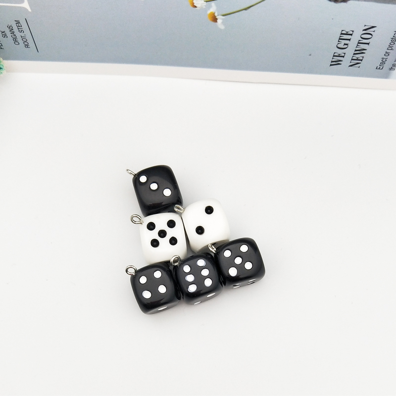 10pcs/pack 15mm Dice Resin Charms 3D Dice Pendants DIY Craft Fit for Bracelet Earring Key Chains Jewelry DIY Finding Handmade 3