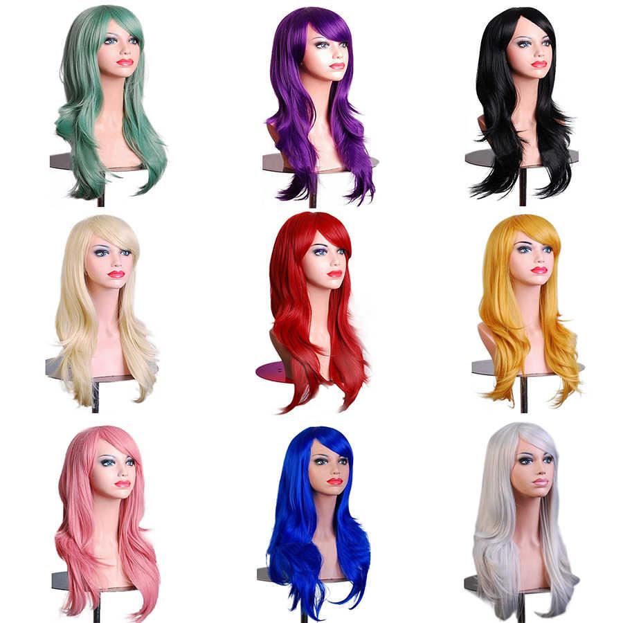 Allaosify парик для косплея из натуральных волн, красный, зеленый, розовый, черный, синий, серебристый, серый, русый, коричневый, синтетические волосы, парики для женщин