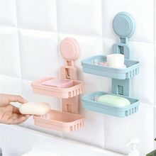 Double Layers Soap Box Kitchen Toolss Fashion Dual-strong Suction Cup Bathroom Shelf Storage Accessorie