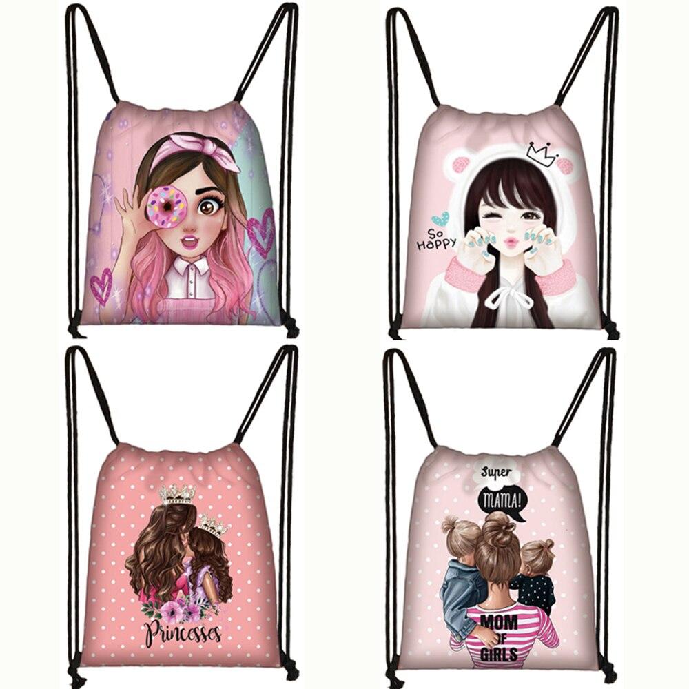 Cute Cartoon Princess Girls / Mom Print Drawstring Bag Women Storage Bag Ladies Canvas Backpack Teenager Bookbag