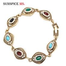 SUNSPICE MS Antique Gold Color Coin Link Bracelet for Women Turkish Ethnic Rhinestone