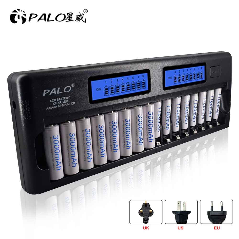 Palo 16 slots Fast Smart Charger LCD display Built-In IC Protection Intelligent Rapid Battery Charger for 1 2V AA AAA Ni-MH NiCd