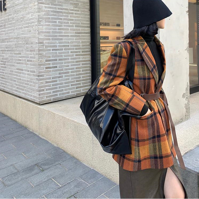 HziriP 2020 Vintage Single-breasted Plaid Woolen Blazer With Belt Jackets Female Retro Suit Coat Feminino Blazers Outerwear Tops