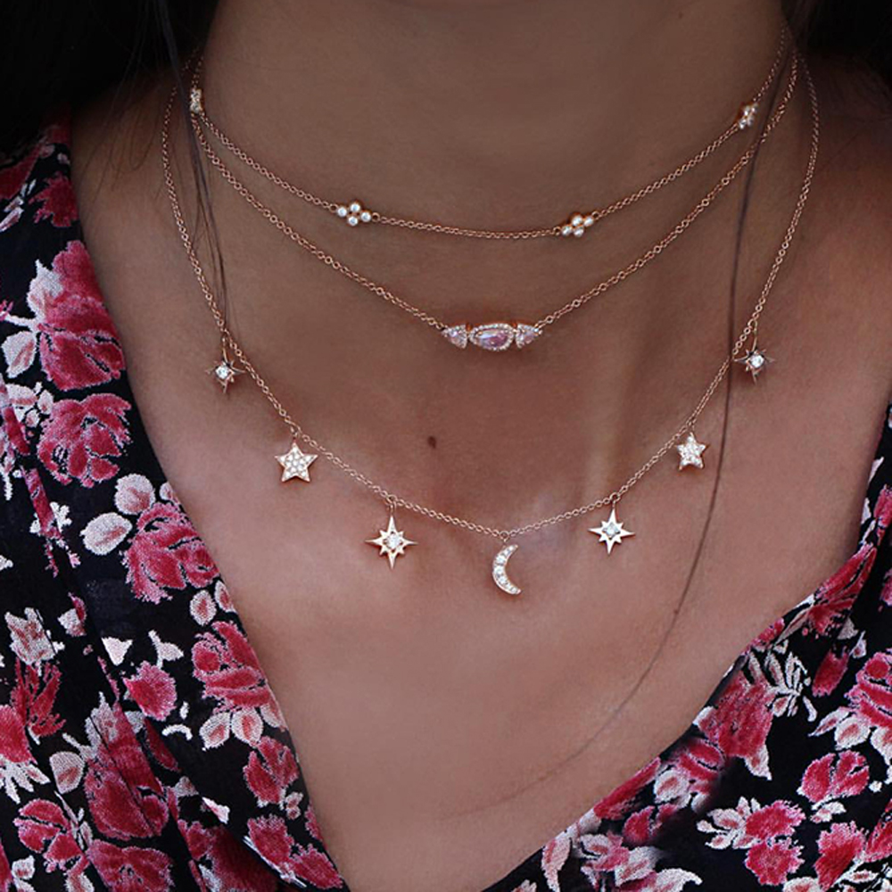 2019 new 925 sterling silver Jewelry Love moon star Necklaces & Pendants Chain Choker Necklace Collar Women Statement Jewelry