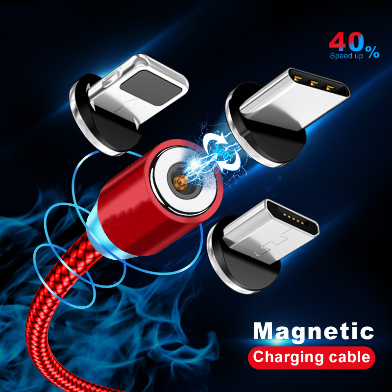 Magnetic Cable lighting 2.4A Fast Charge Micro USB Cable Type C Magnet Charger 1M Braided Phone Cable for iPhone Xs Samsung Wire 1