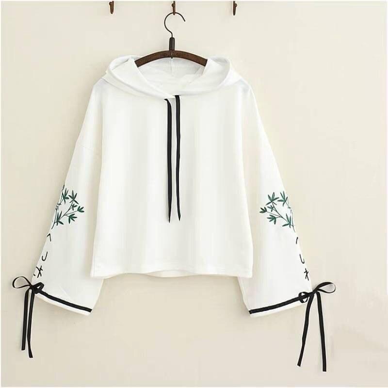 Japan Sweatshirt Women Elegant Bamboo Embroidery High Quality Kawaii Hoodies Cute White Hoodies Girls Long Sleeve Pullover