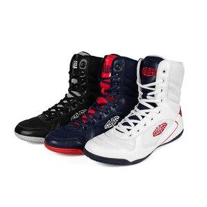 Botas Azules de lucha para hombre, zapatos de gimnasio vestibles para niño grande, zapatos de malla para boxeo, zapatillas de lucha