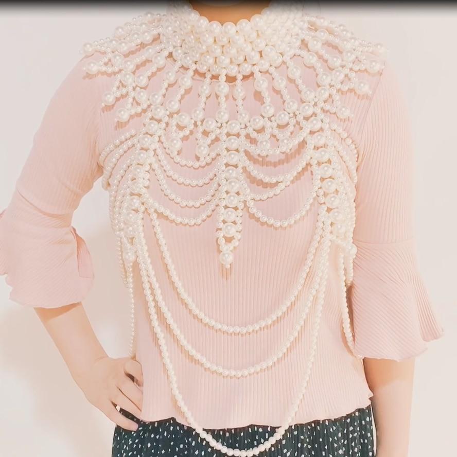 Vedawas Vintage simulé perle grande déclaration corps chaîne à la main de luxe exagéré corps bijoux Unique femmes cadeaux de mariage