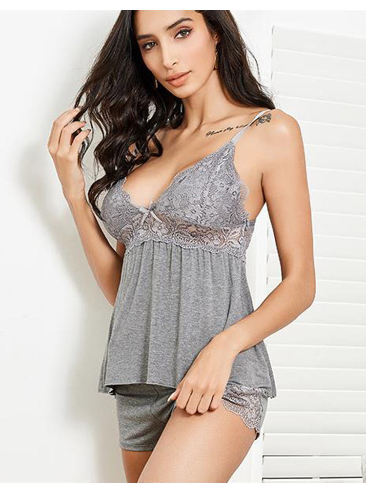 CINOON 2Pcs Plus Size Cotton Pajama Set Sexy Lace Top And Shorts V-Neck Sleeveless Sleepwear Set Camisole Bowknot Shorts Set