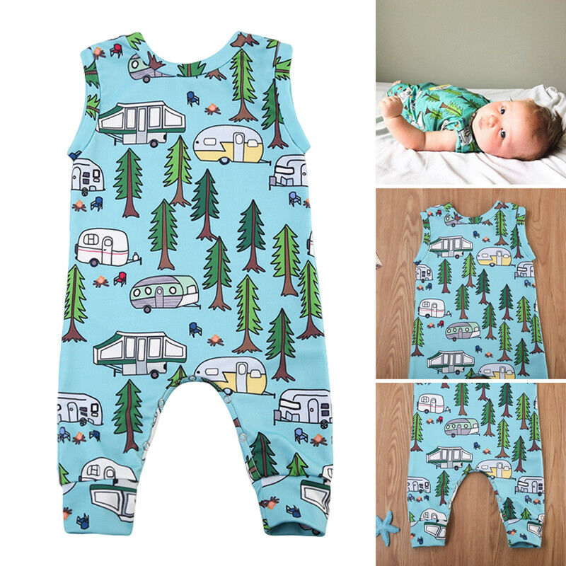 Forest Car Baby Boy Girl Rompers Cartoon Kids Jumpsuit Playsuit Clothes Outfit