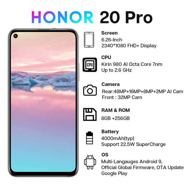 Global Version Honor 20 Pro Smartphone 8GB 256GB Kirin 980 Octa Core 48MP Four Camera 6.26'' Cell Phone 4000mAh Google Play NFC 3