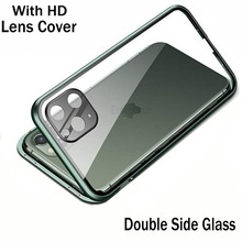 Magnetic Glass Case For Iphone 11 Pro Max X XR XS MAX Metal Camera Lens Protectiv Double Side Tempered Glass Cover For Iphone 11
