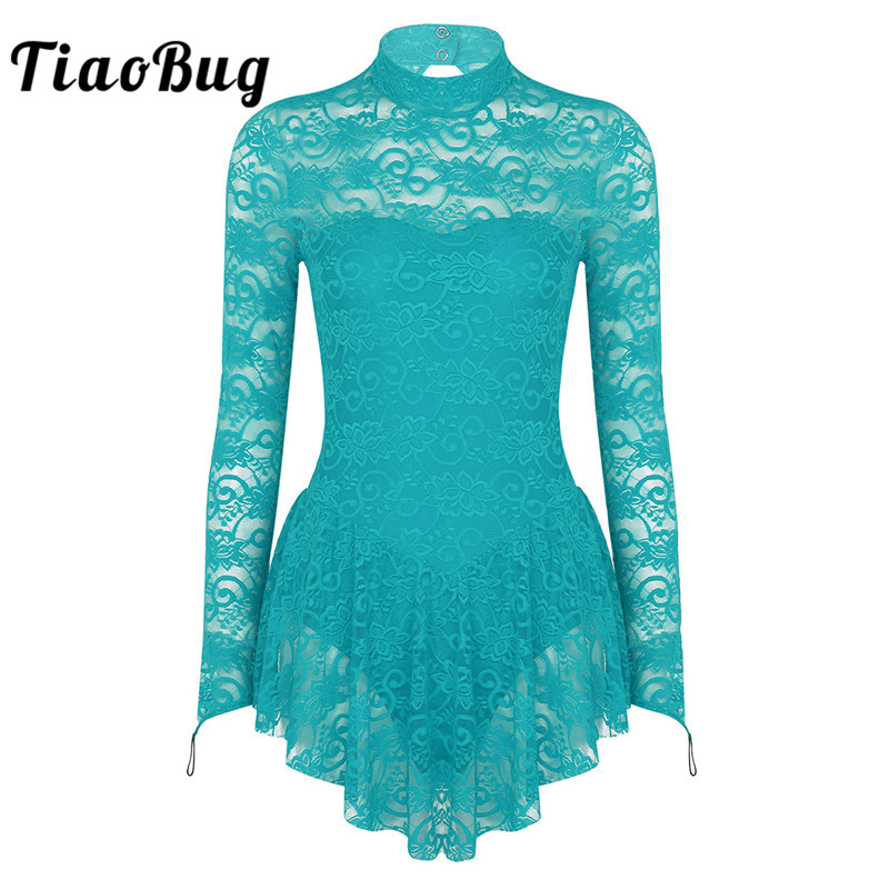 TiaoBug Adult Long Sleeve Soft Lace Tutu Ballet Gymnastics Leotard Women Figure Skating Dress Competition Lyrical Dance Costumes